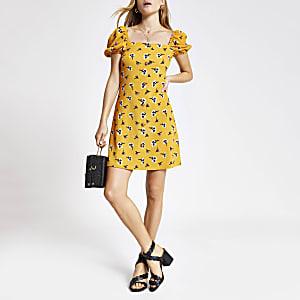 Gele mini-jurk met print en pofmouwen
