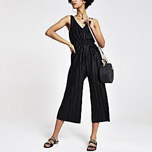 Zwarte plissé jumpsuit met V-hals