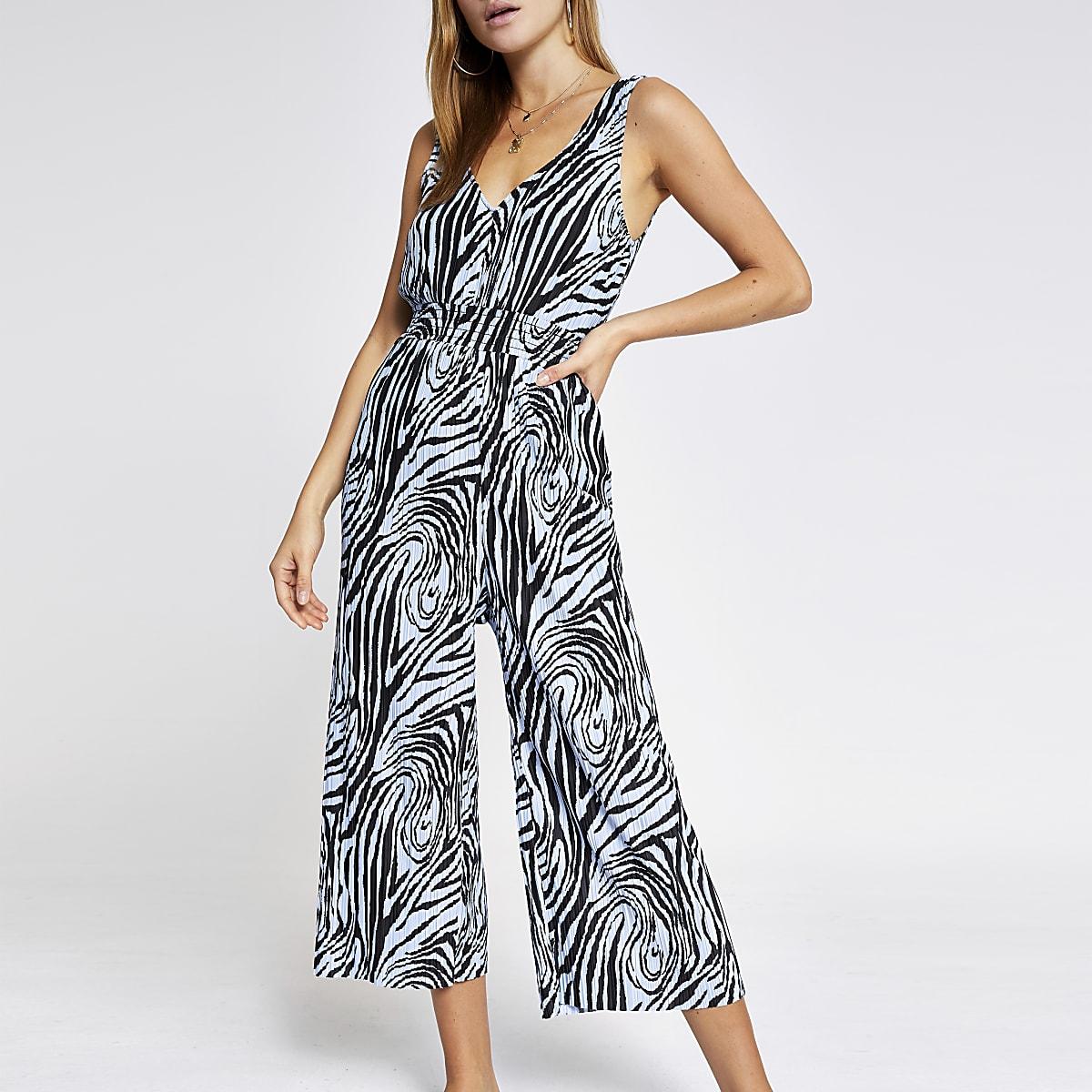 Blue zebra print plisse jumpsuit