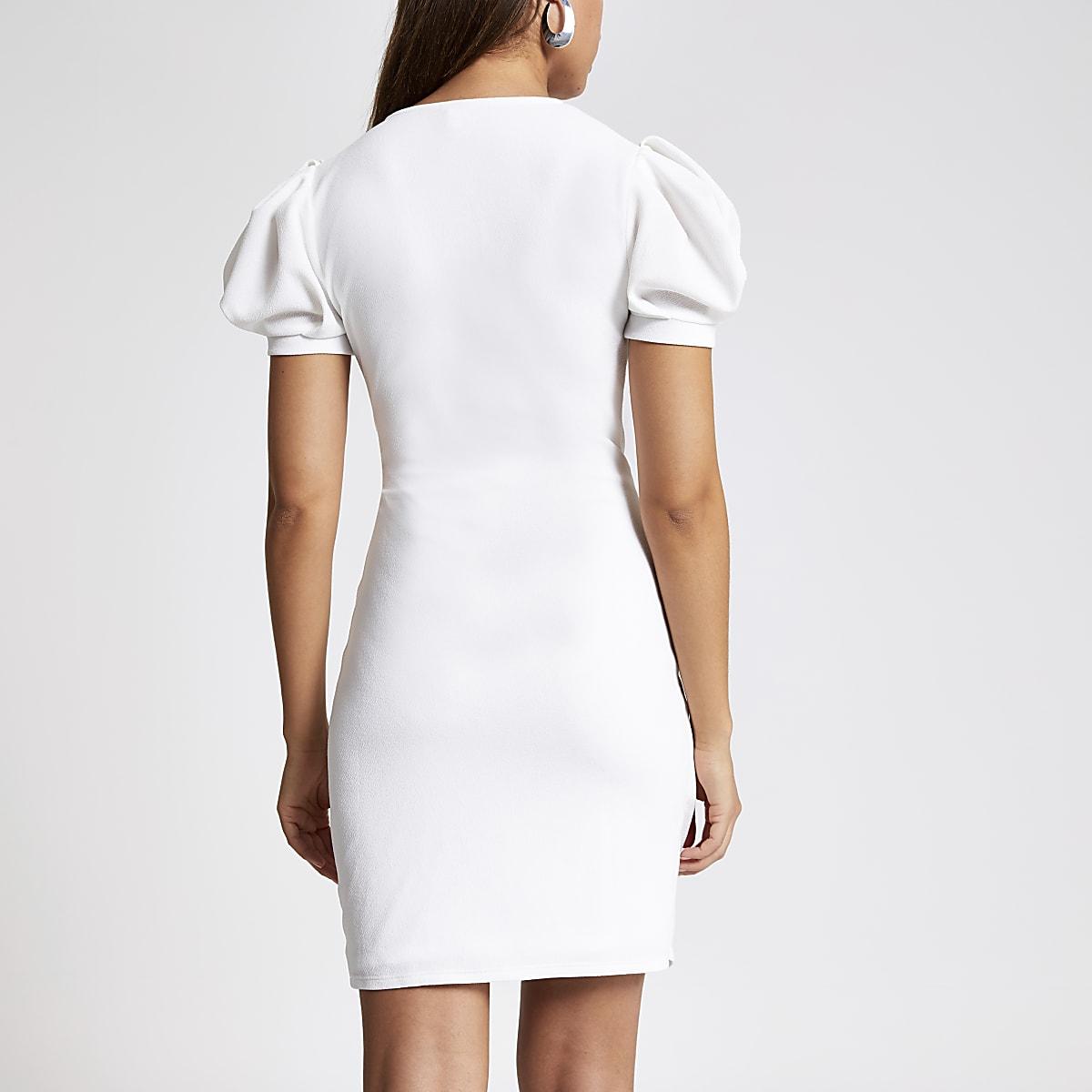 2c8cb249c0e White puff sleeve wrap dress - Bodycon Dresses - Dresses - women