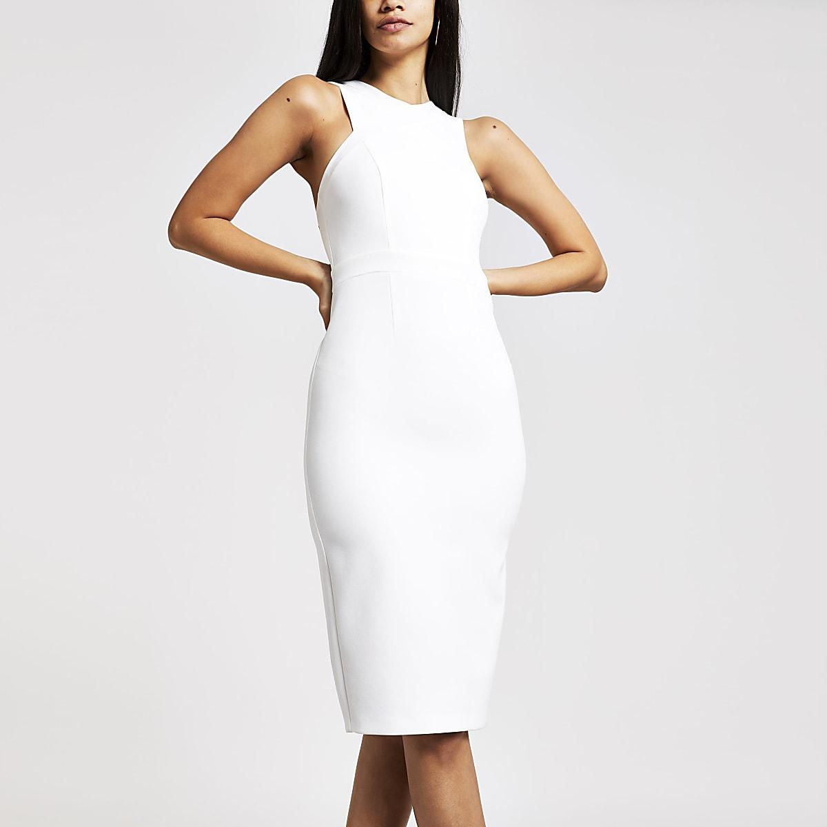 White high neck midi bodycon dress