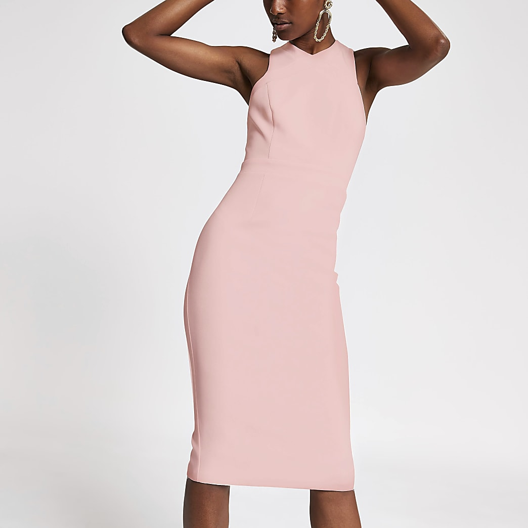 Pink high neck bodycon dress