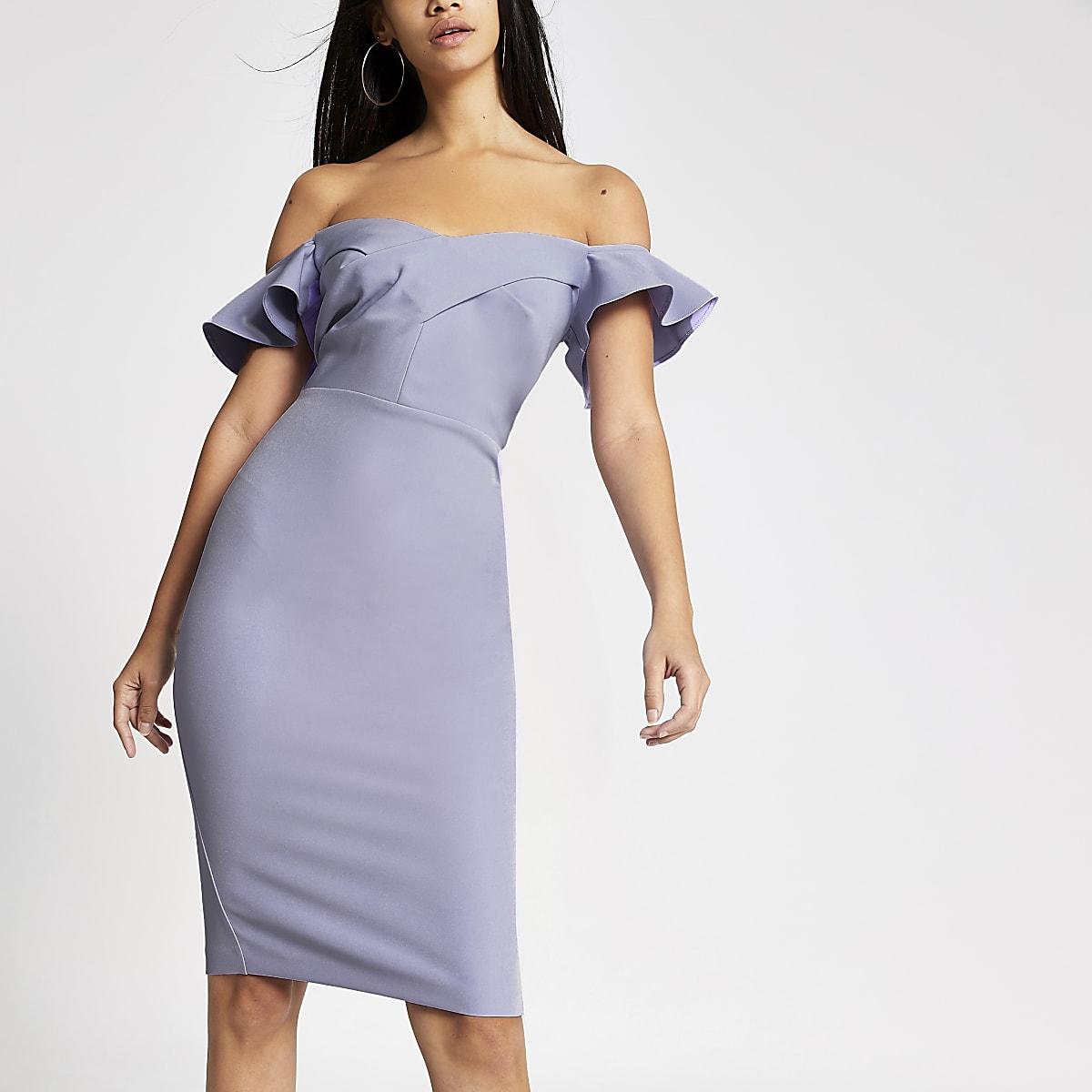 Purple bardot bodycon dress