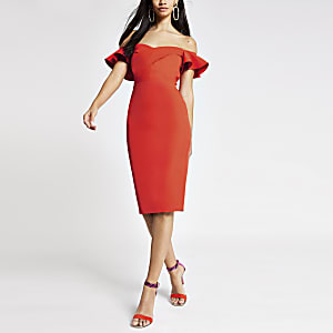 Robe ajustée Bardot orange