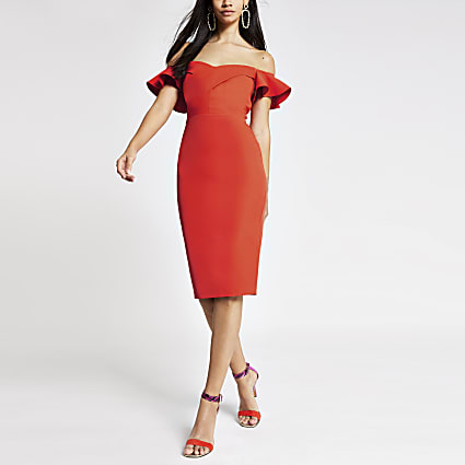 Orange bardot bodycon dress