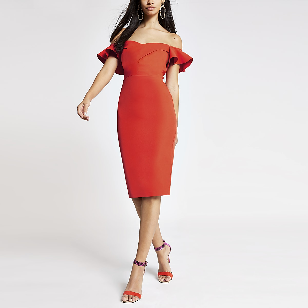 Orange bardot bodycon dress