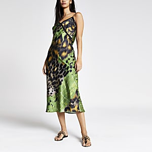Green printed lace trim maxi slip dress