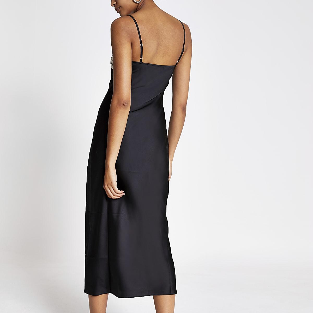 7d1cd7408 Black lace trim satin slip dress
