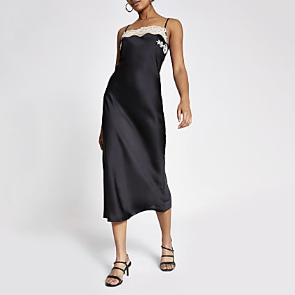 Black lace trim satin slip dress