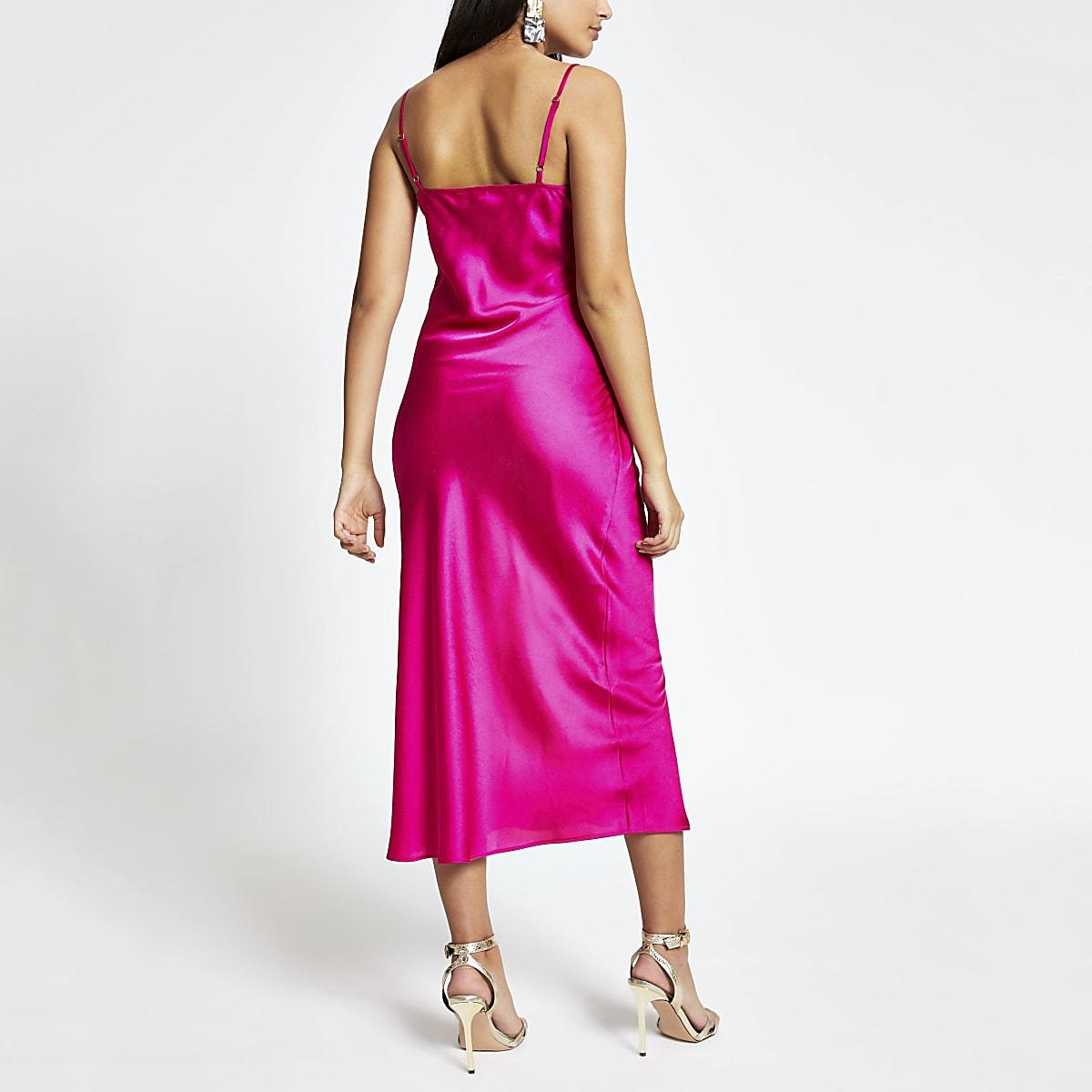 6ce739f7e Pink lace trim midi slip dress