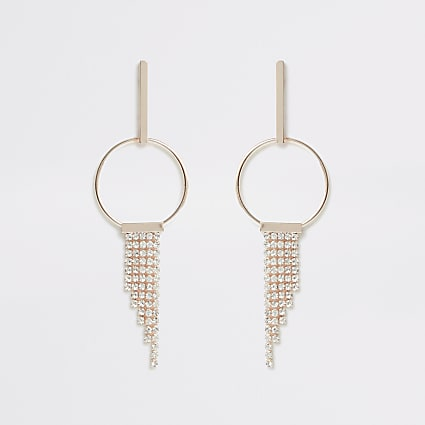 Rose gold colour cupchain tassel drop earring
