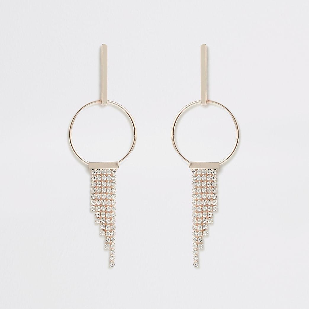 Pendants d'oreilles circulaires or rose à pampilles