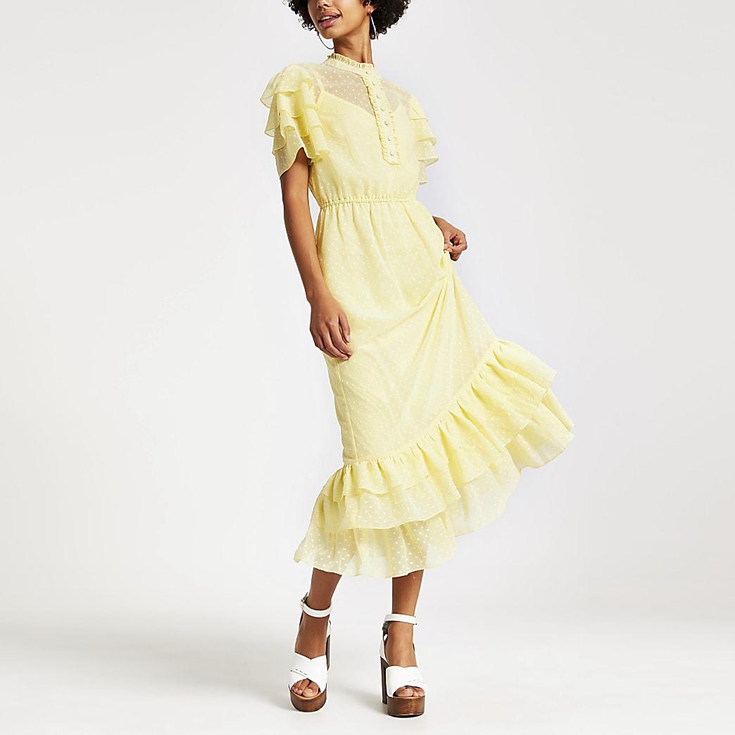 Gele hoogsluitende midi-jurk met ruches