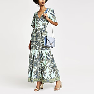 Green paisley button front maxi dress