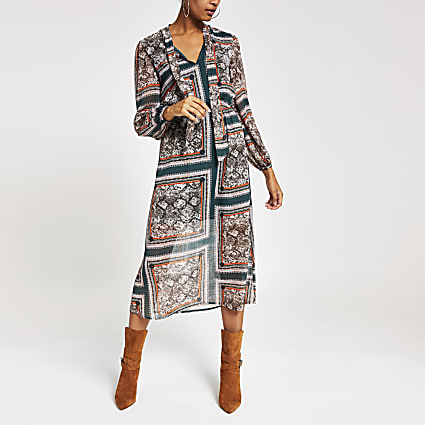 Green printed long sleeve waisted midi dress