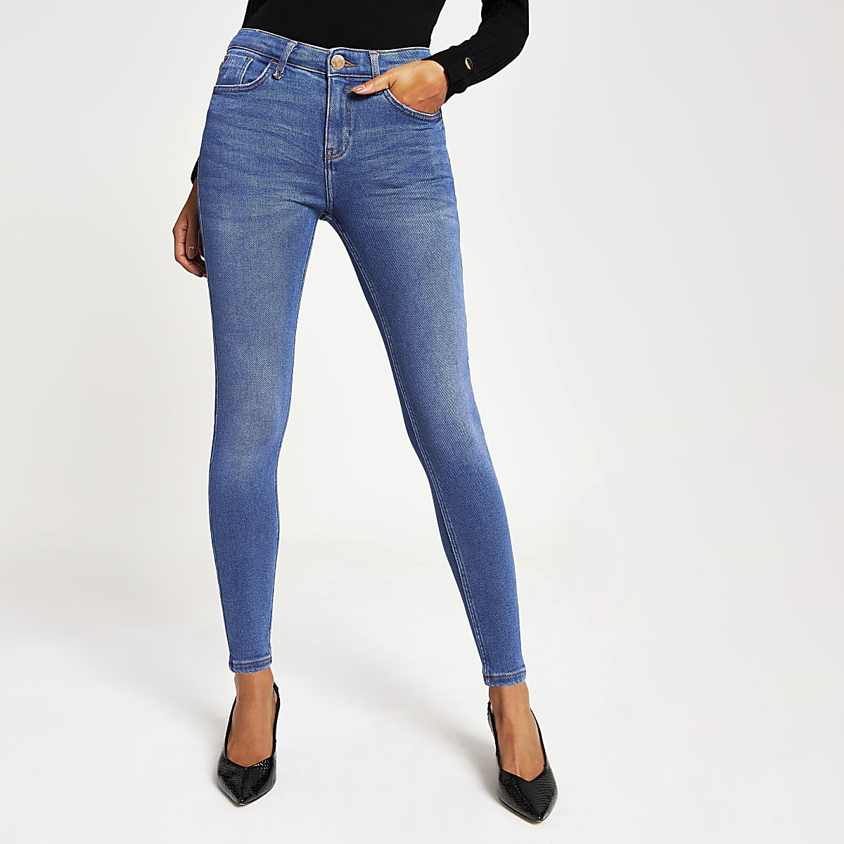 Bright blue Amelie mid rise skinny jeans