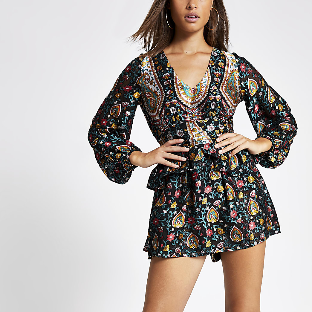 Black floral print long sleeve playsuit