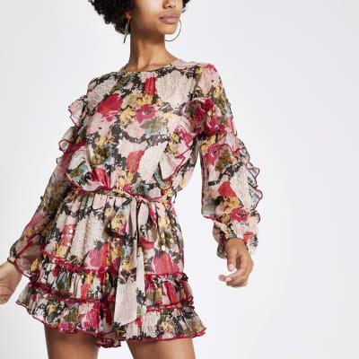 Pink floral print frill embellished playsuit