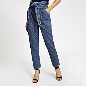 Middenblauwe jeans met strikceintuur en geplooide taille