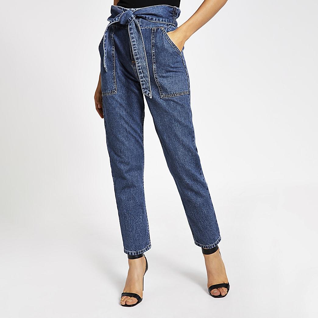 Mid blue paperbag tie waist jeans