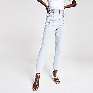 Lichtblauwe diamanté jeans met geplooide taille