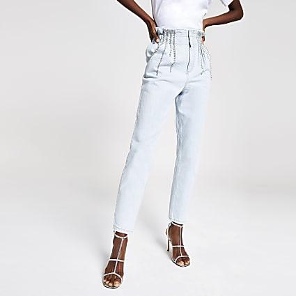 Light blue paperbag diamante jeans