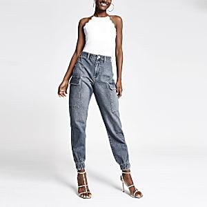 Becky – Mittelblaue Jeans-Jogger