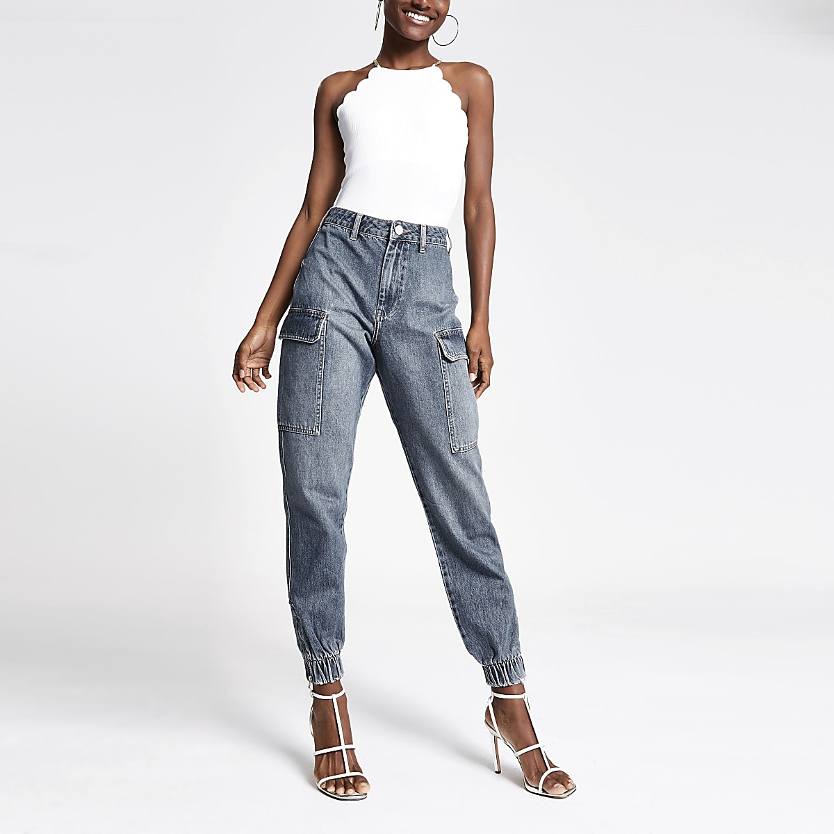Mid blue Becky jogger jeans