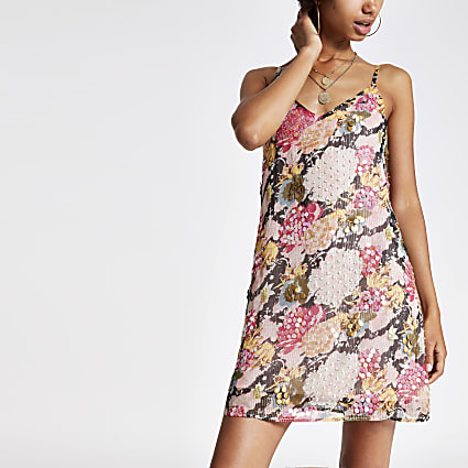 Pink floral print embellished slip dress