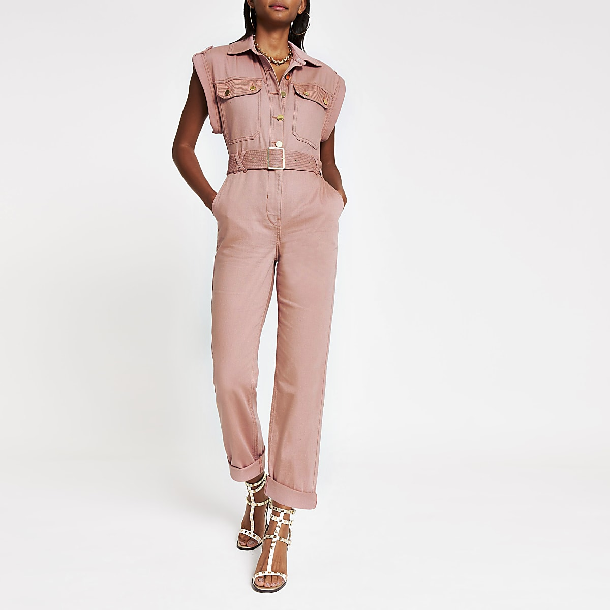 Pink utility boiler jumpsuit