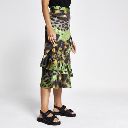 Green print frill midi skirt