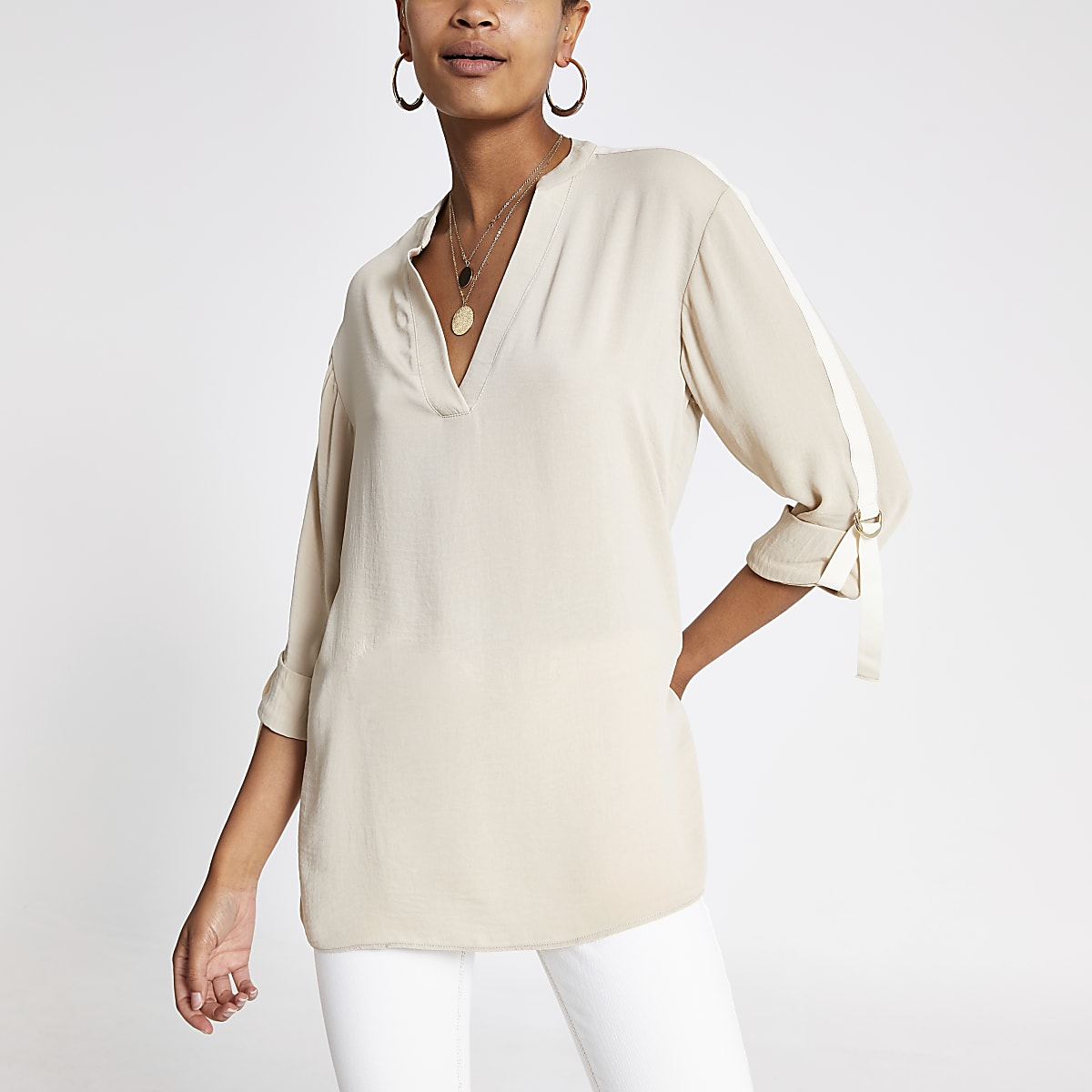 Cream over-sized rolled sleeve shirt