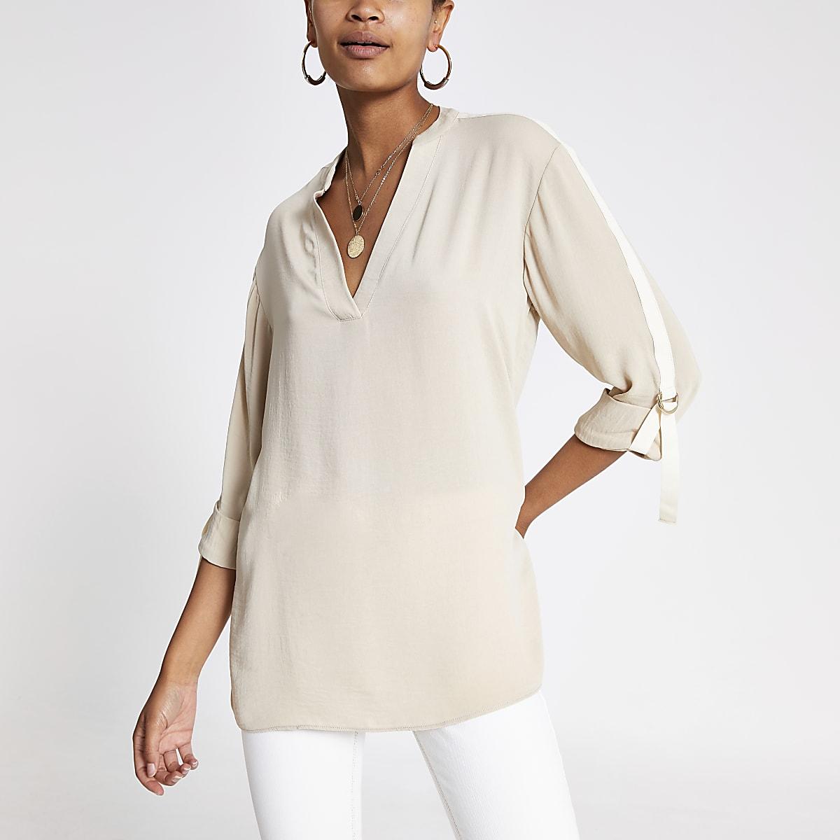 Crèmekleurig oversized overhemd met omgeslagen mouwen