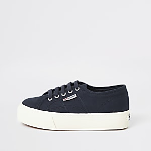 Superga navy flatform runner sneakers