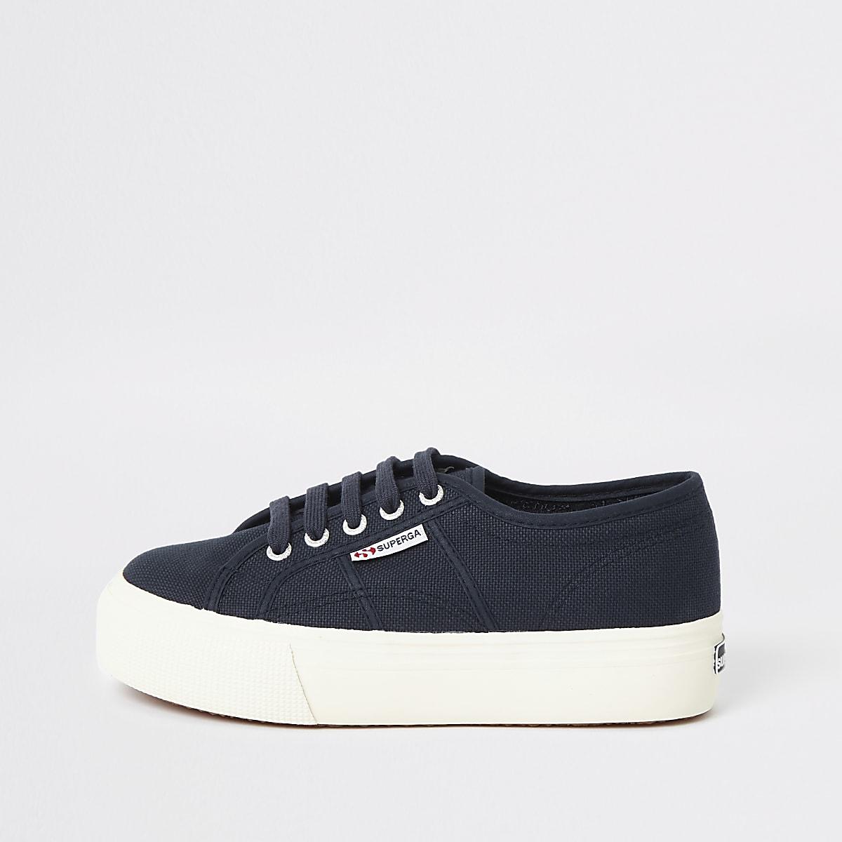 Superga navy flatform runner sneakers