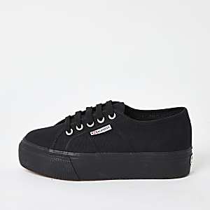 Superga black flatform runner trainers