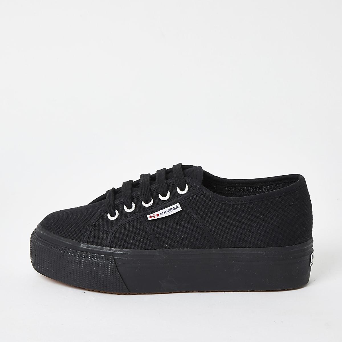 Superga black flatform runner sneakers