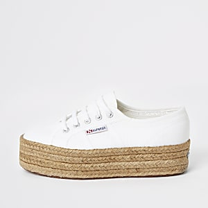 Superga white espadrille runner trainers