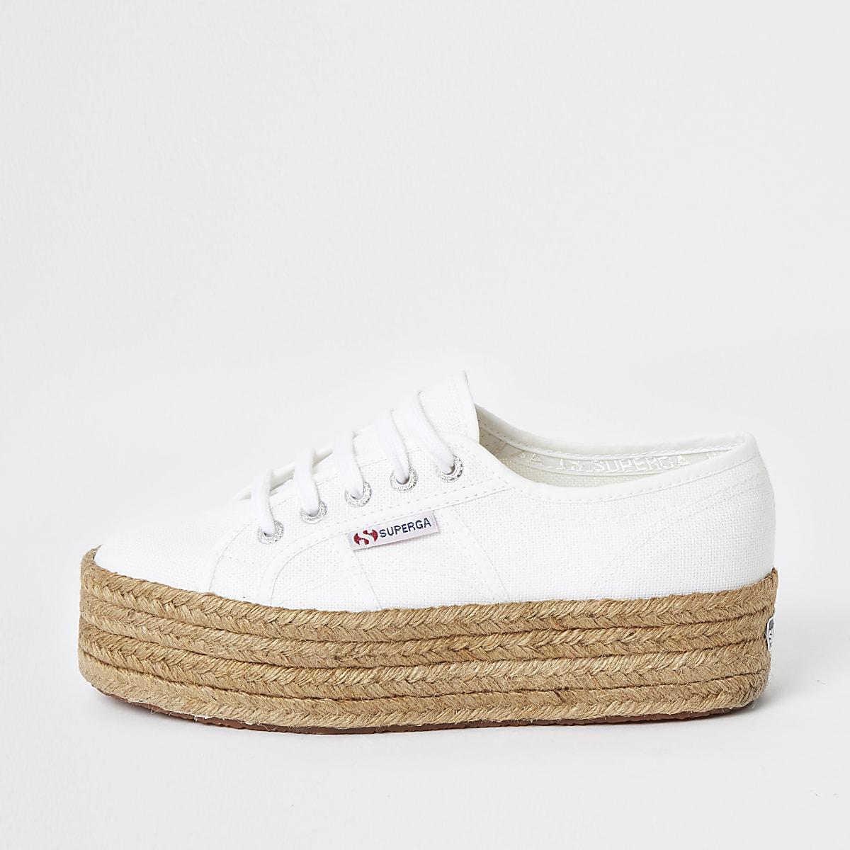 Superga – Baskets de course blanches façon espadrilles