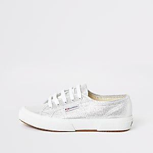 Superga silver lace-up runner sneakers