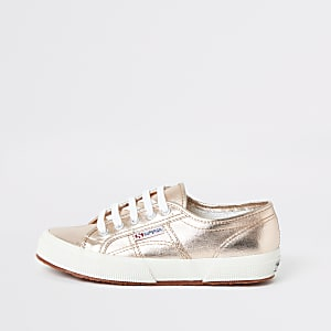 Superga gold lace-up sneakers