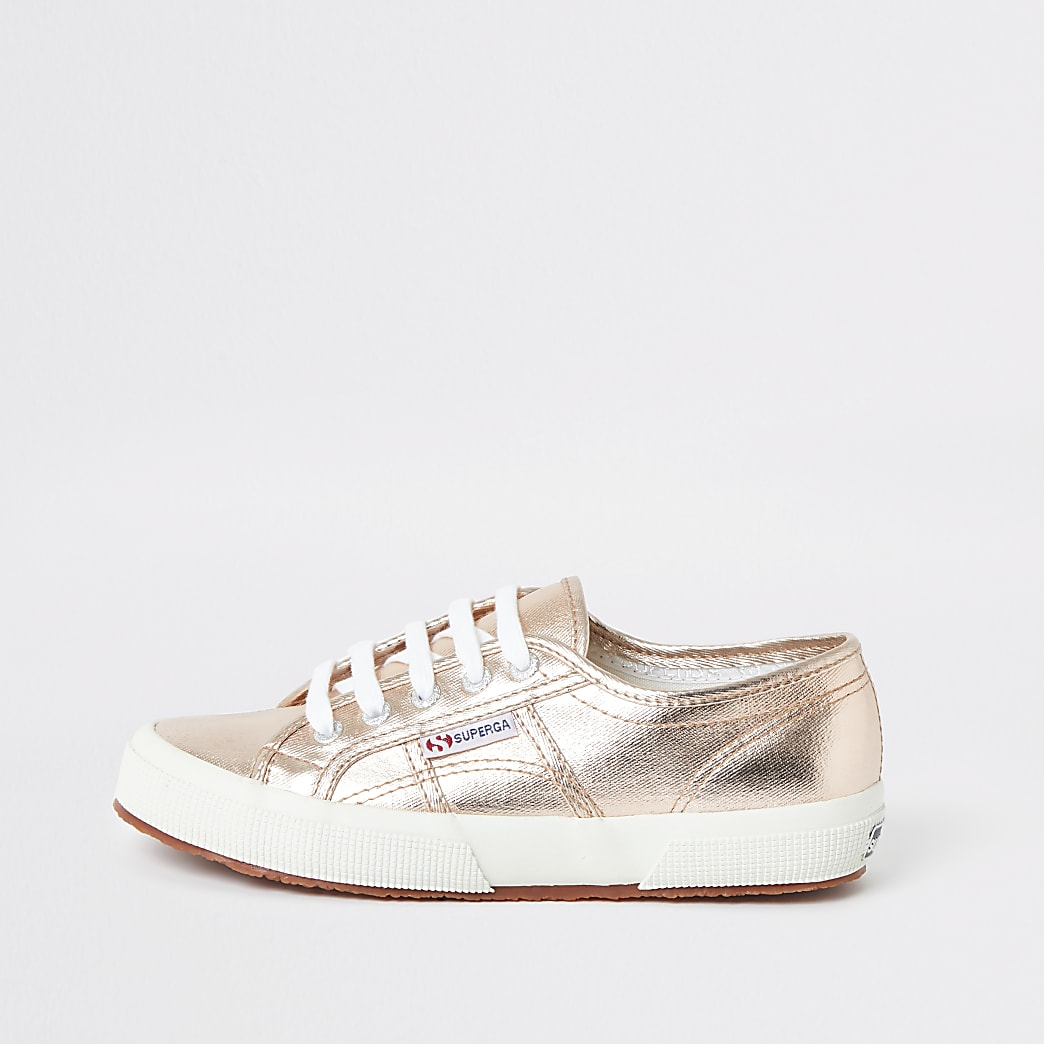 Superga rose gold lace-up trainers