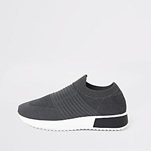 Baskets de course en maille gris foncé