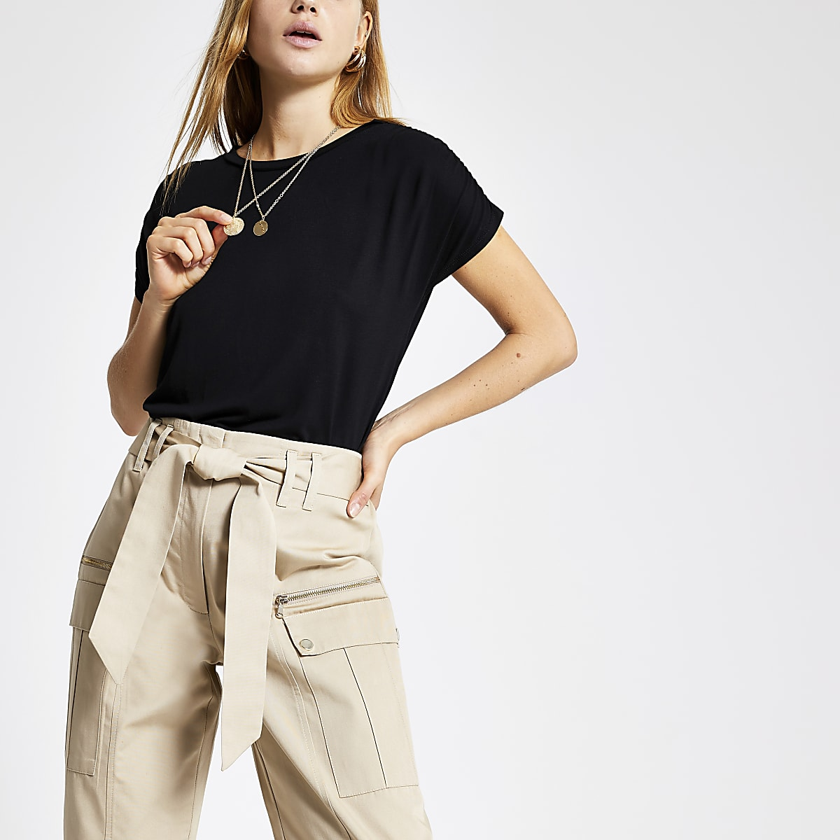 Black ruched sleeve T-shirt