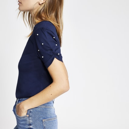 Navy pearl embellished knot sleeve T-shirt
