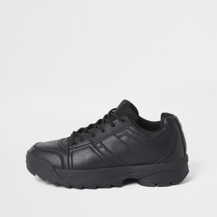 Black chunky lace-up runner trainers
