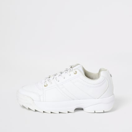 White chunky lace-up runner trainers