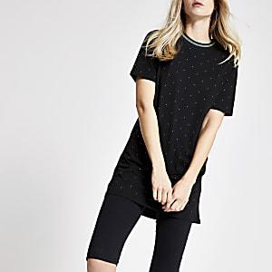 T-shirt noir à strass effet irisé