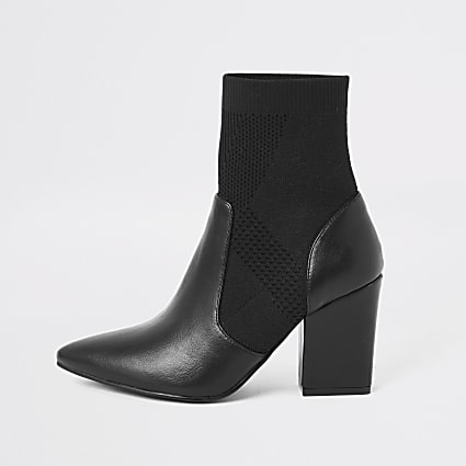 Black knitted heeled sock boot