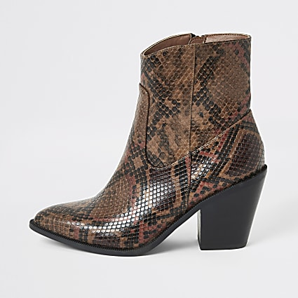 Brown snake print western ankle boots